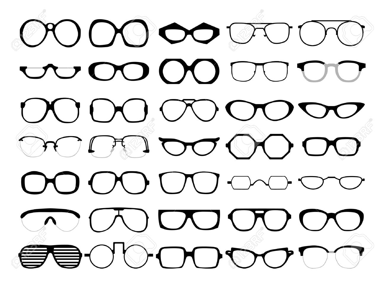 Vector Set Of Different Glasses On White Background. Retro, Wayfarer ...