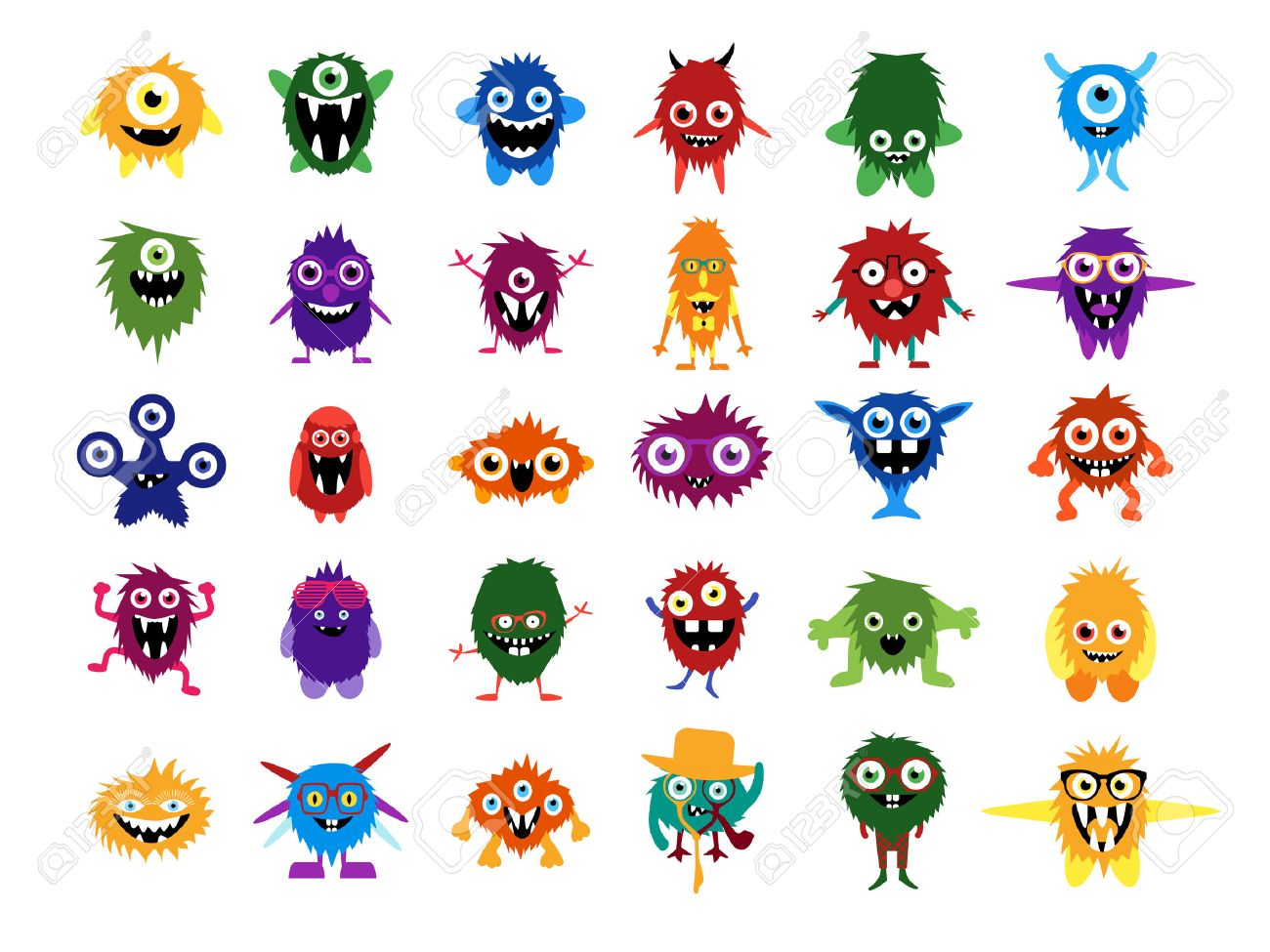 Cute monsters. Big set of cartoon monsters. Editable faces, eyes, teeth, smiles. Fluffy vector monsters and aliens in glasses with custom expessions and gesture. Halloween creatures for your design. - 45720660