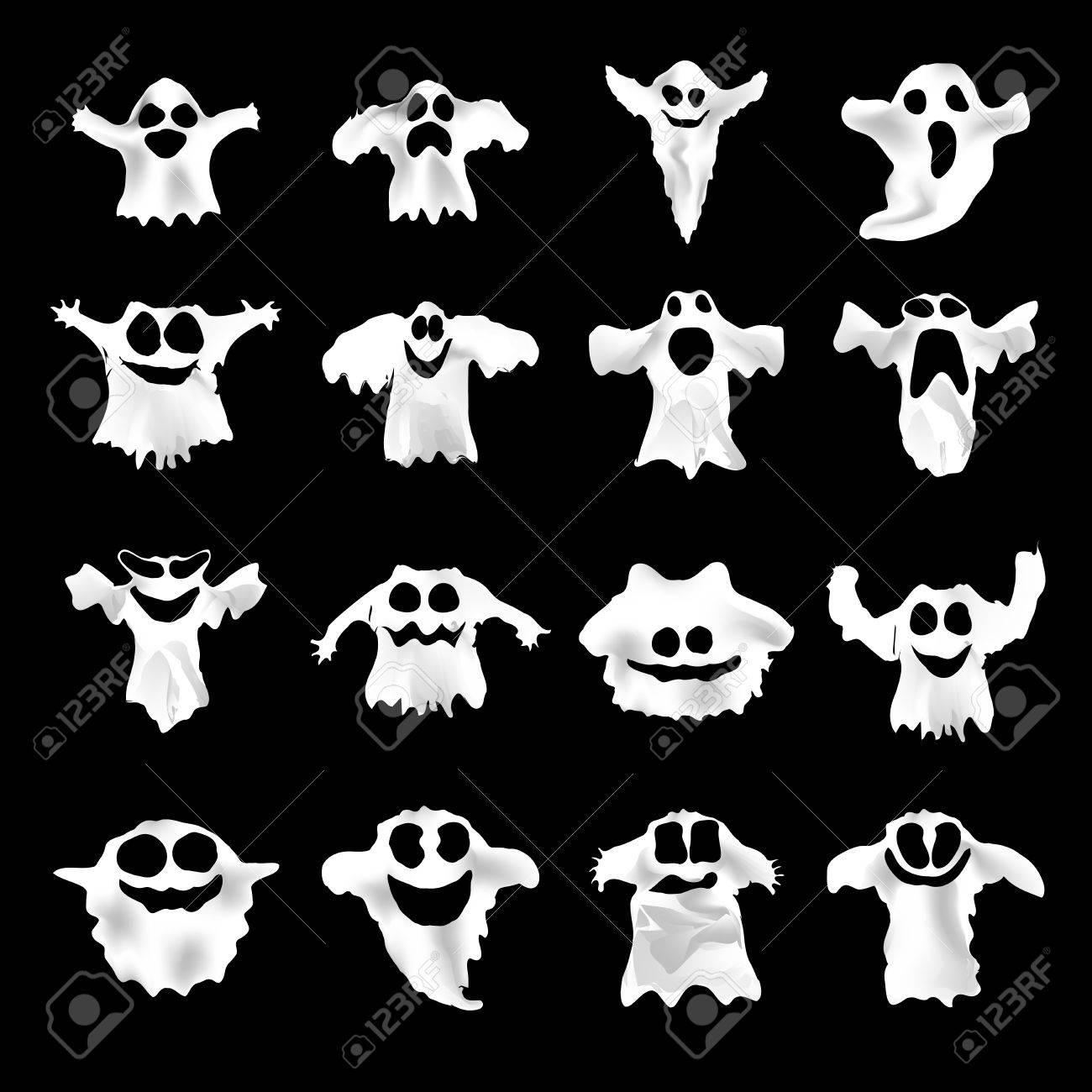 デザインとビジネスのための別の表現でハロウィーン白幽霊のセットです