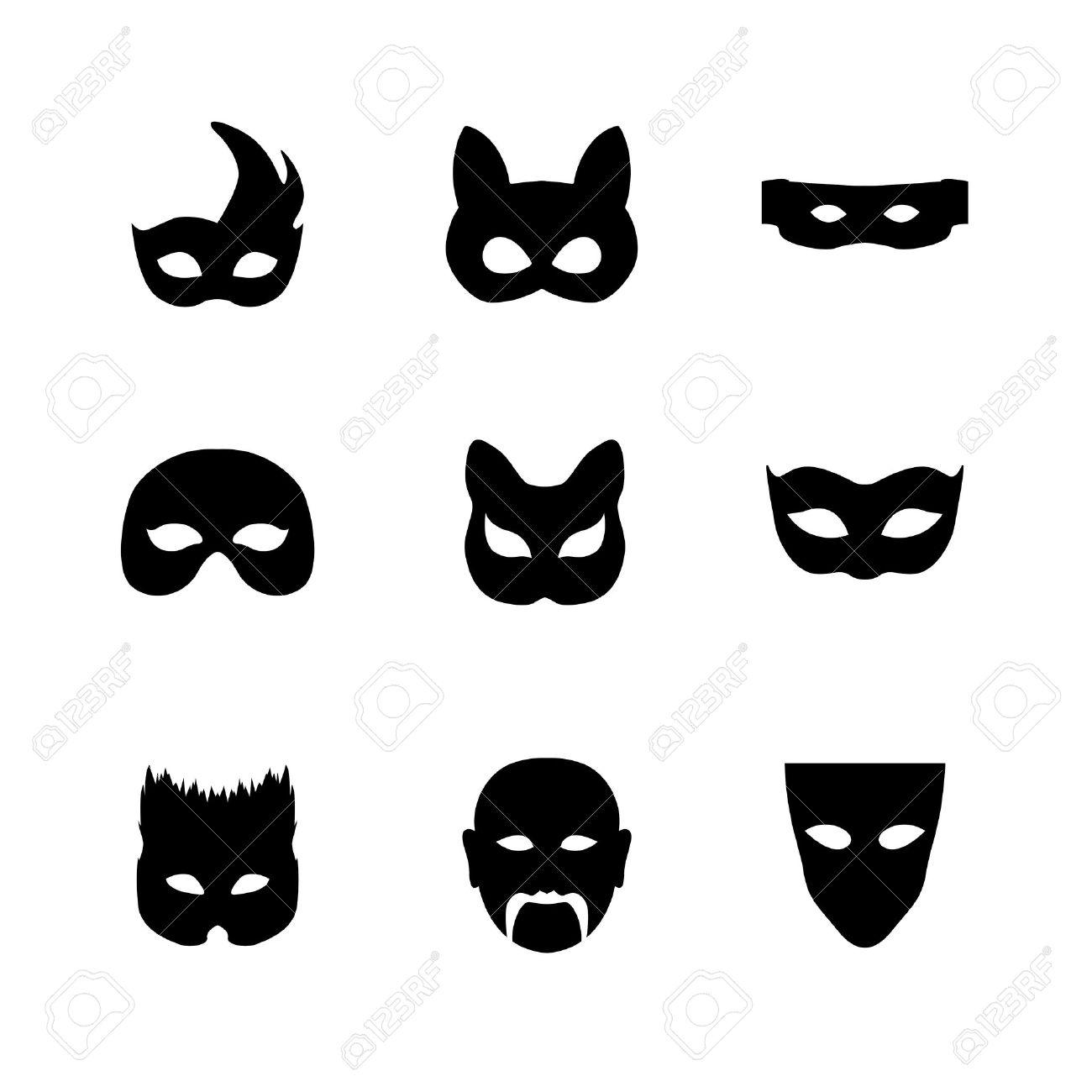 Festliche Karneval Maske Icons. Isolierte Vektor-Set Silhouette ...