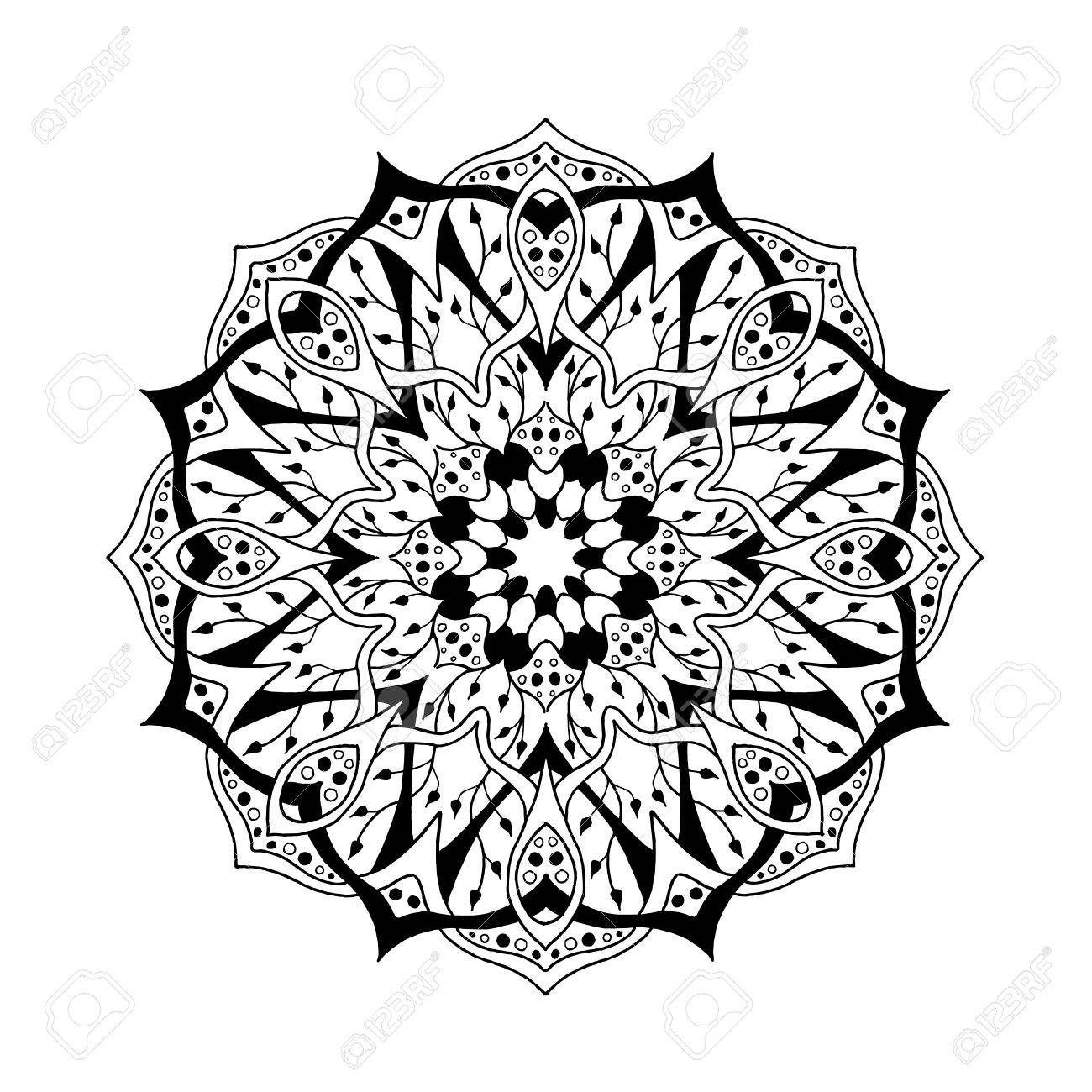 Mandala. Floral Ethnic Abstract Decorative Elements. Hand Drawn ...
