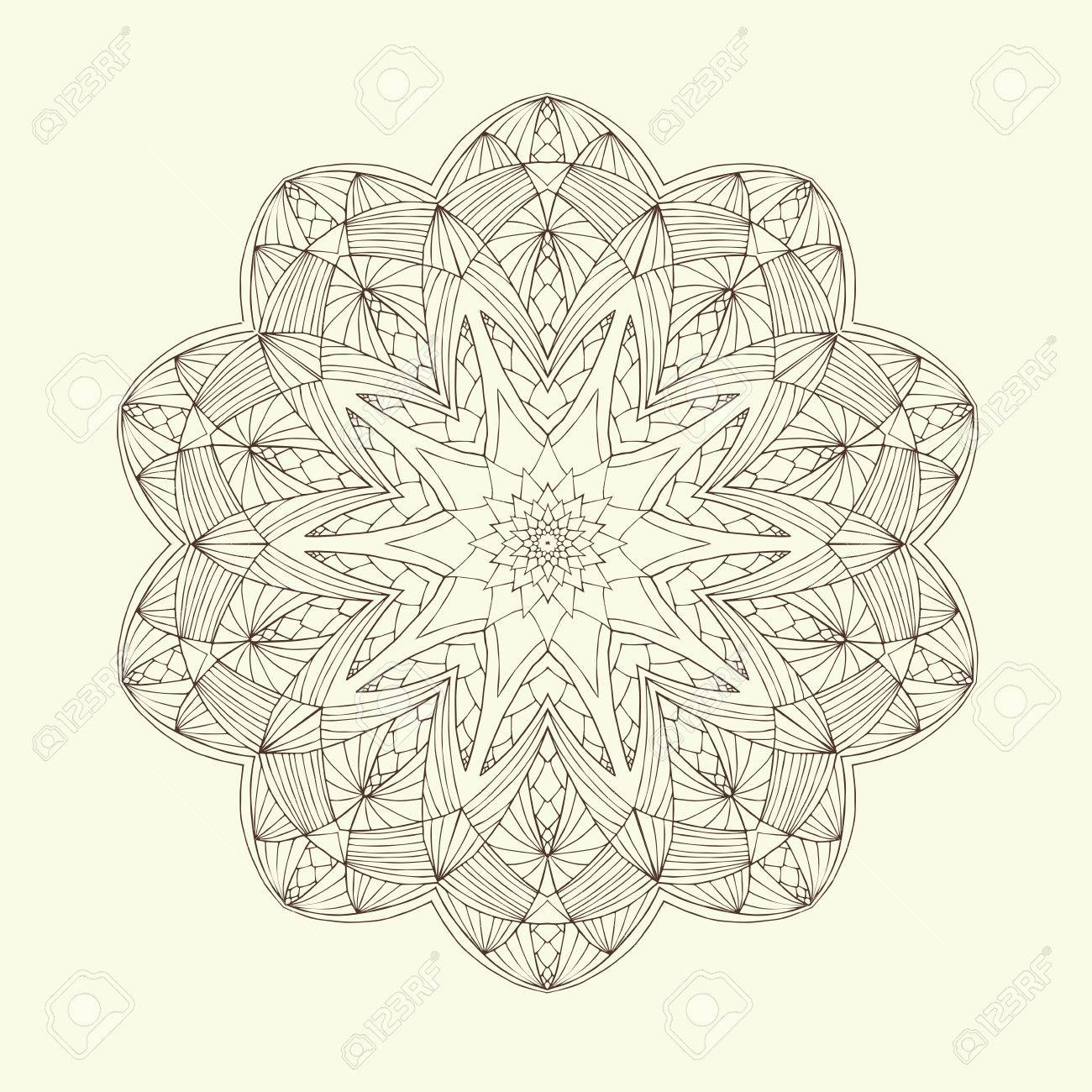 Mandala. Elementos Decorativos Florales étnicos Abstractos. Dibujado ...