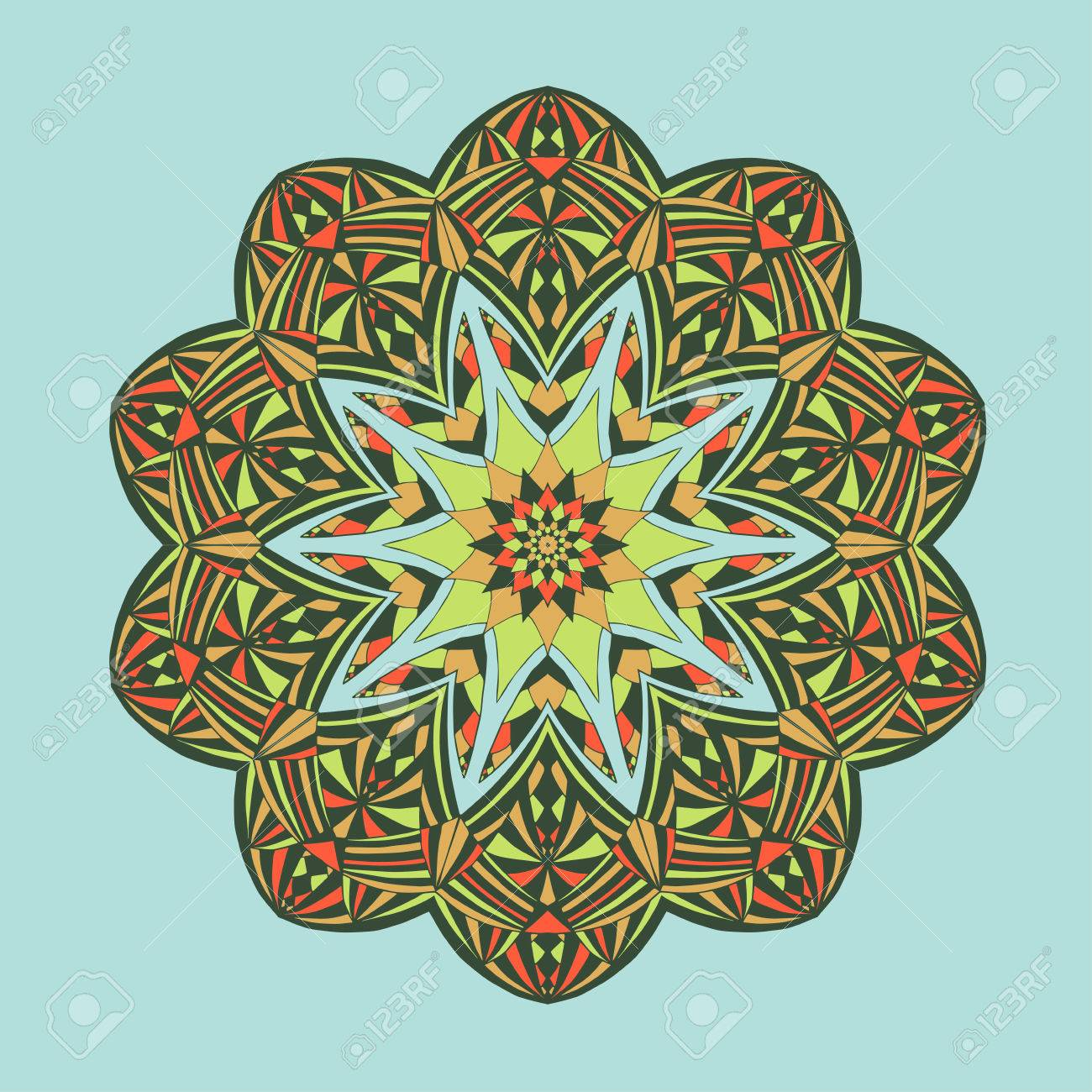 Mandala. Floral Ethnic Abstract Decorative Elements. Hand Drawn ...