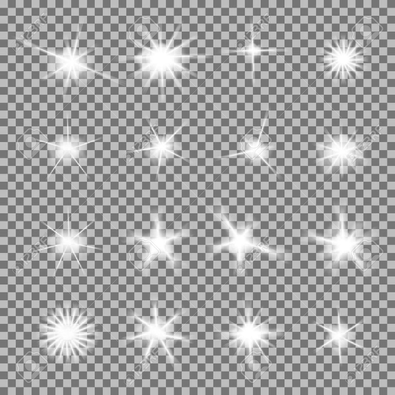 Vector set of glowing light bursts with sparkles on transparent background. Transparent gradient stars, lightning flare. Magic, bright, natural effects. Abstract texture for your design and business. - 48206116