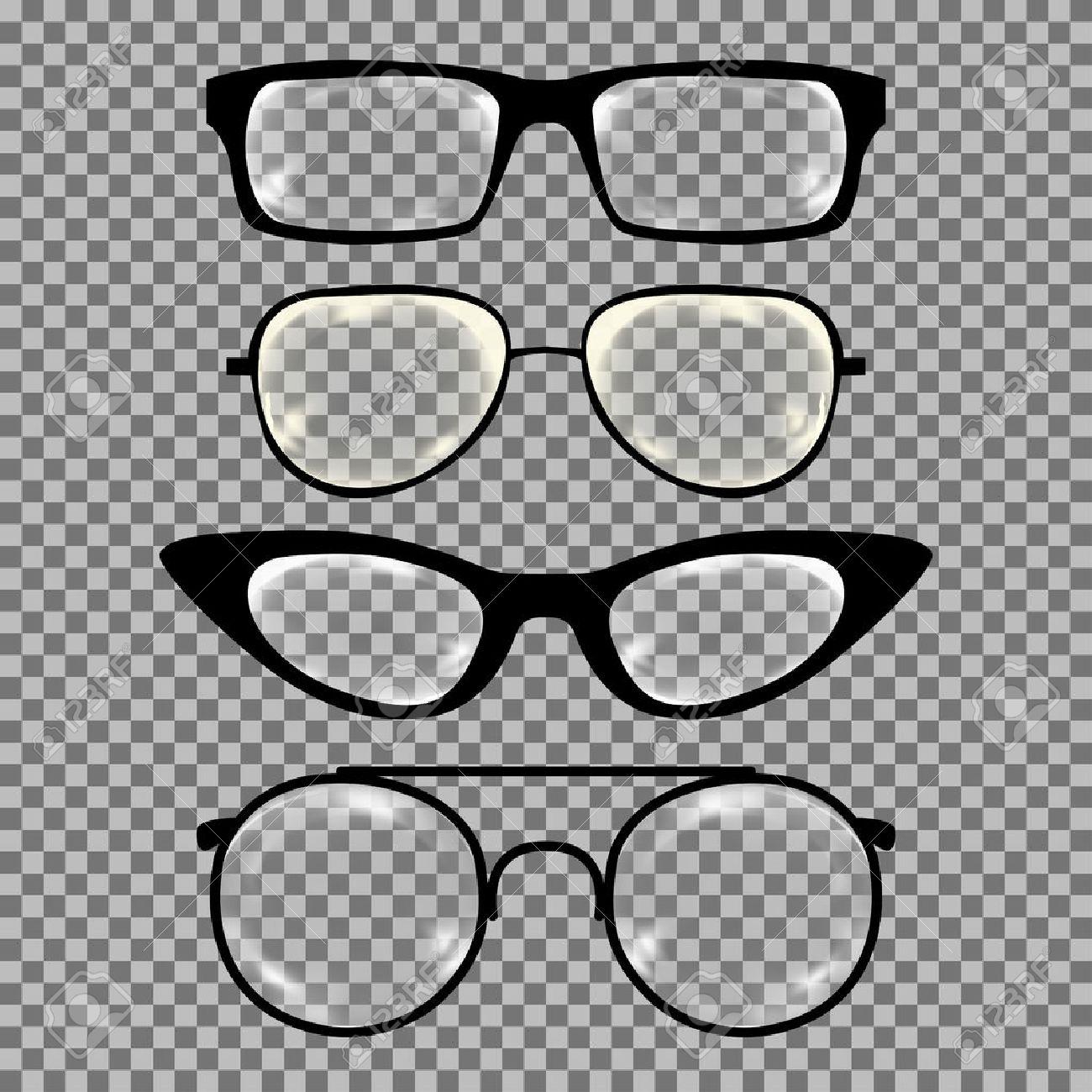 Satz Von Benutzerdefinierten Gläser Isoliert. Vektor-Illustration ...