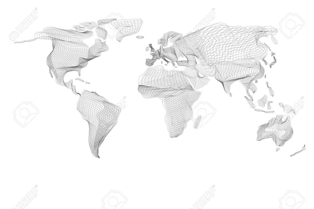 vector world map abstract vintage computer graphic of black hologram lines polygonal card global geography connect continent and planet