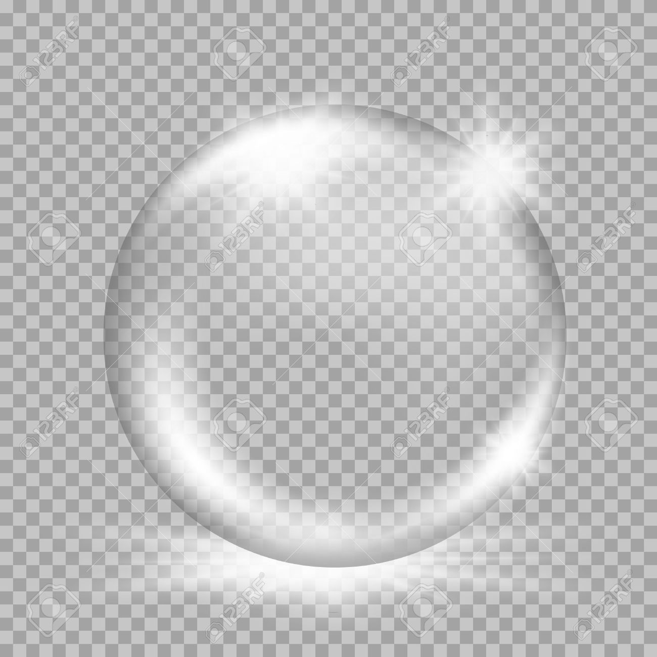 Empty snow globe. Big white transparent glass sphere with glares and, bursts, highlights. Vector illustration with gradients and effects. Winter background for your design and business - 50538880