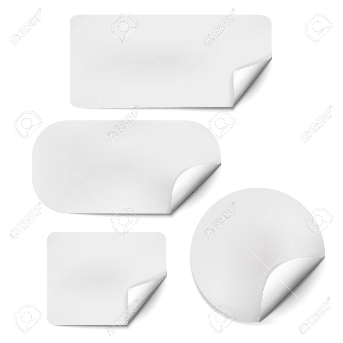 Pages curl set with shadow on blank sheet of paper. White paper sticker. Element for advertising and promotional message isolated on white background. Vector illustration for your design and business - 51267281