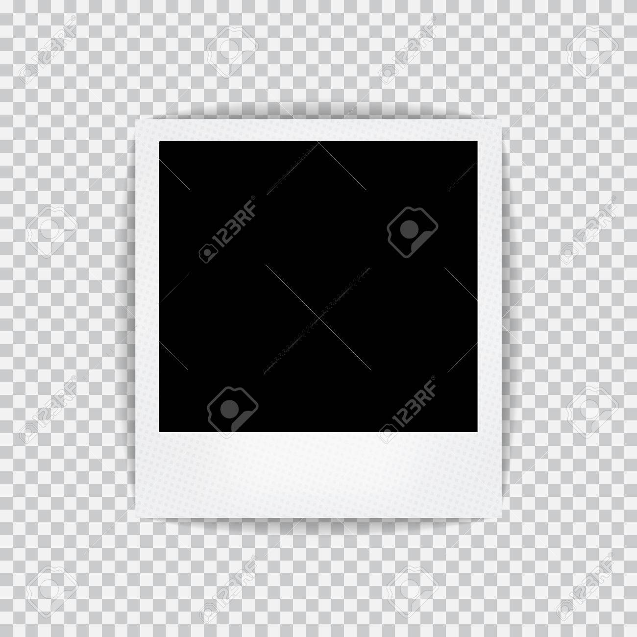 Old Empty Realistic Photo Frame With Transparent Shadow On Plaid ...