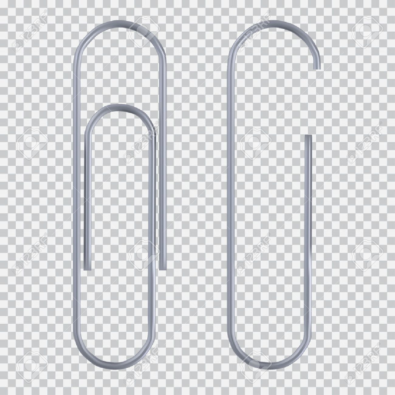 realistic paper clip set. isolated on white black transparent