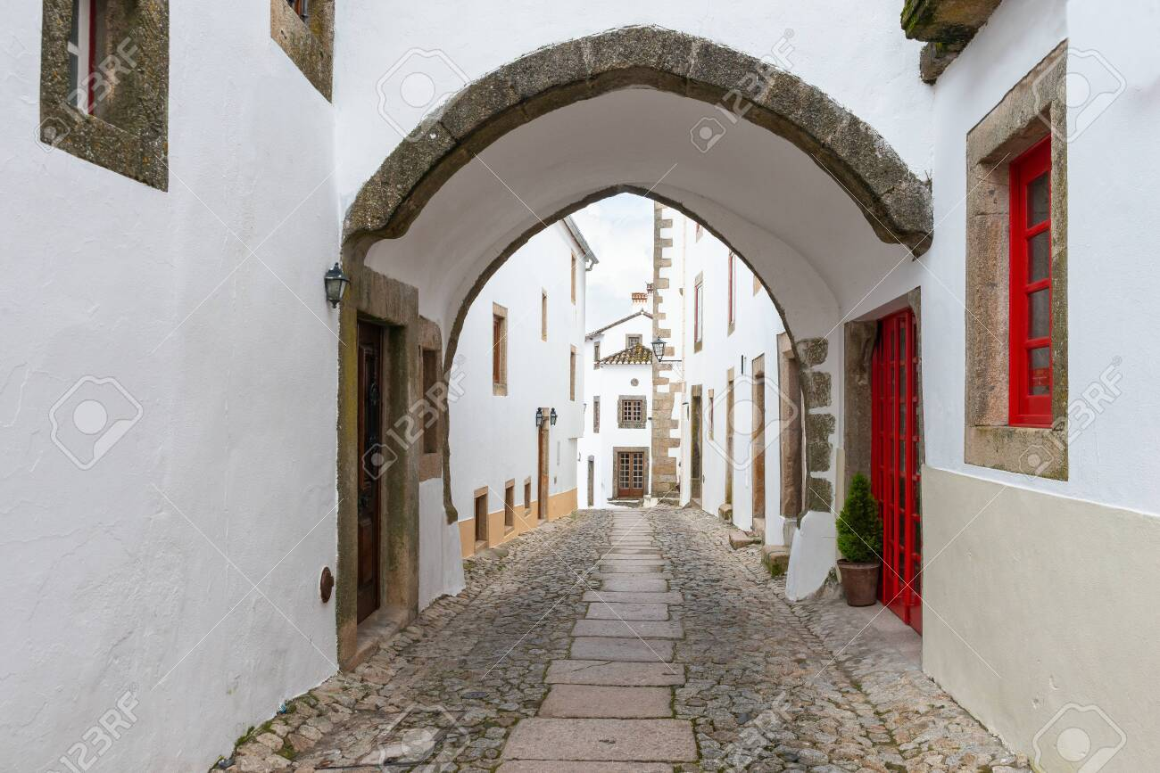 Street in traditional medieval village Marvao Portugal - 128725328