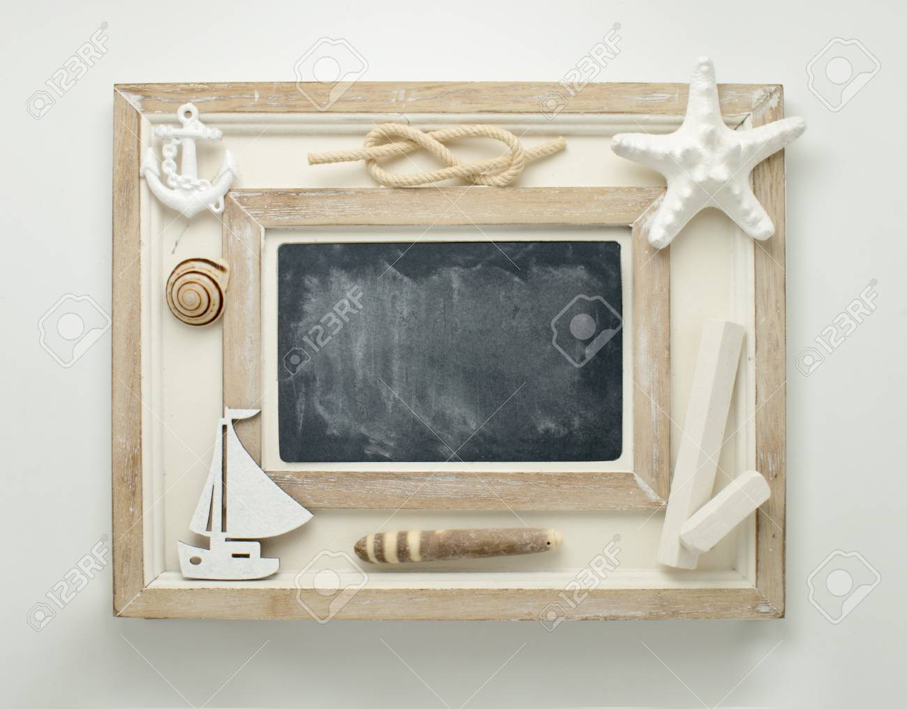 Framed Chalkboard Decorated In Marine Style. Stock Photo, Picture ...