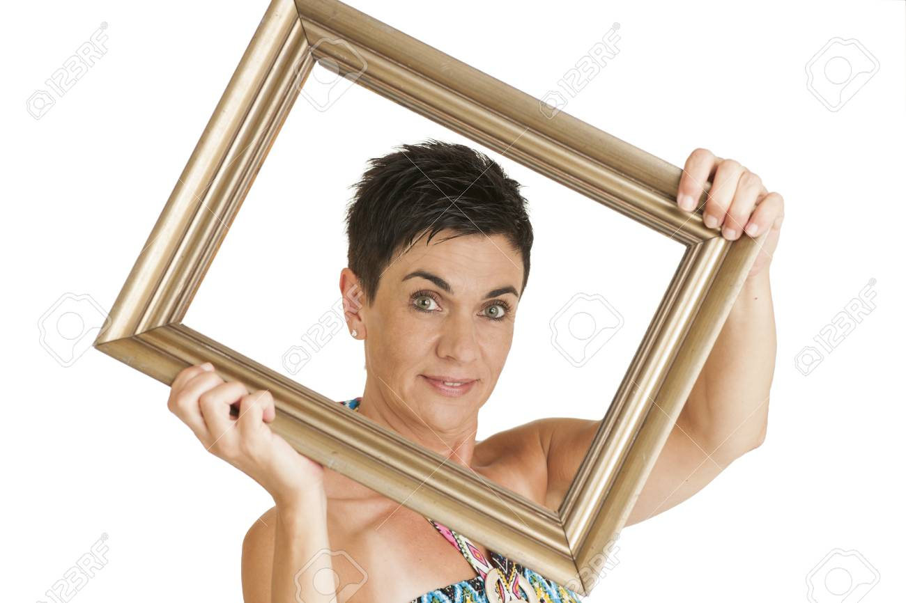 Woman In The Oblique Holding Frame Stock Photo, Picture And Royalty ...