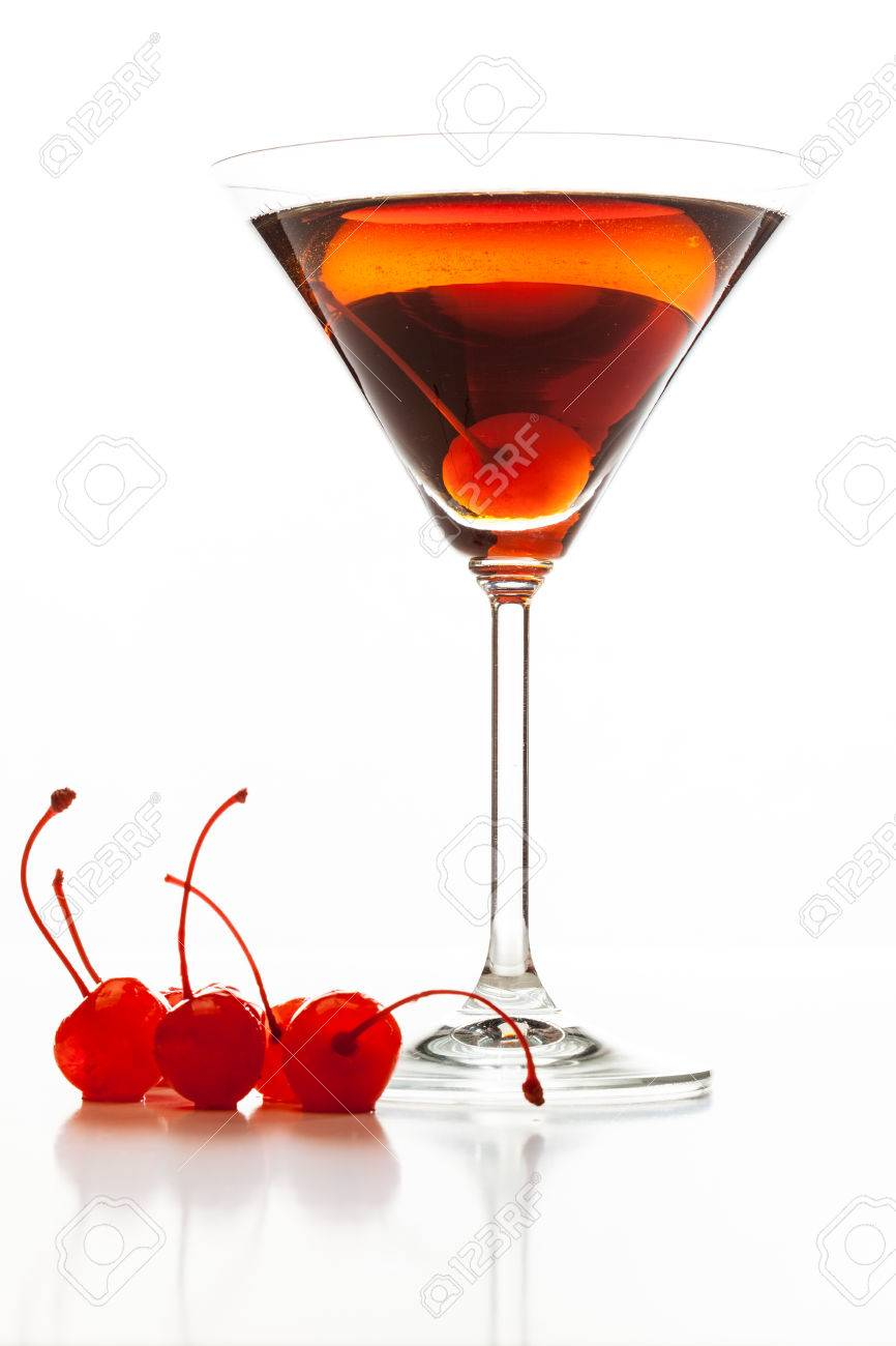 Manhattan Cocktail Garnished With A Cherry On White Background Stock Photo Picture And Royalty Free Image Image 32458411