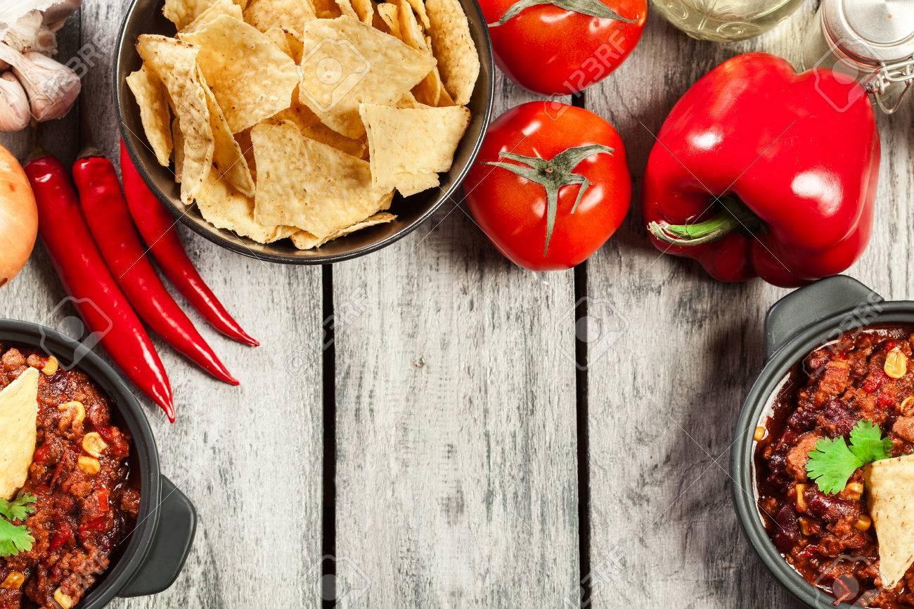 Schalen Von Scharfen Chili Con Carne Mit Hackfleisch Bohnen