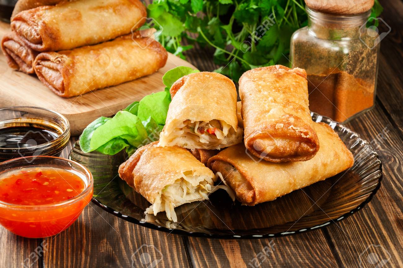 Spring Rolls With Chicken And Vegetables Served With Sweet Chili Stock Photo Picture And Royalty Free Image Image 86801349