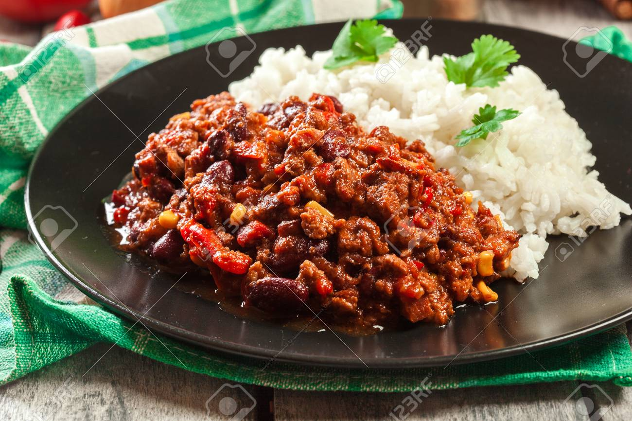 Hot Chili Con Carne With Ground Beef Beans Tomatoes And Corn Stock Photo Picture And Royalty Free Image Image 95483022