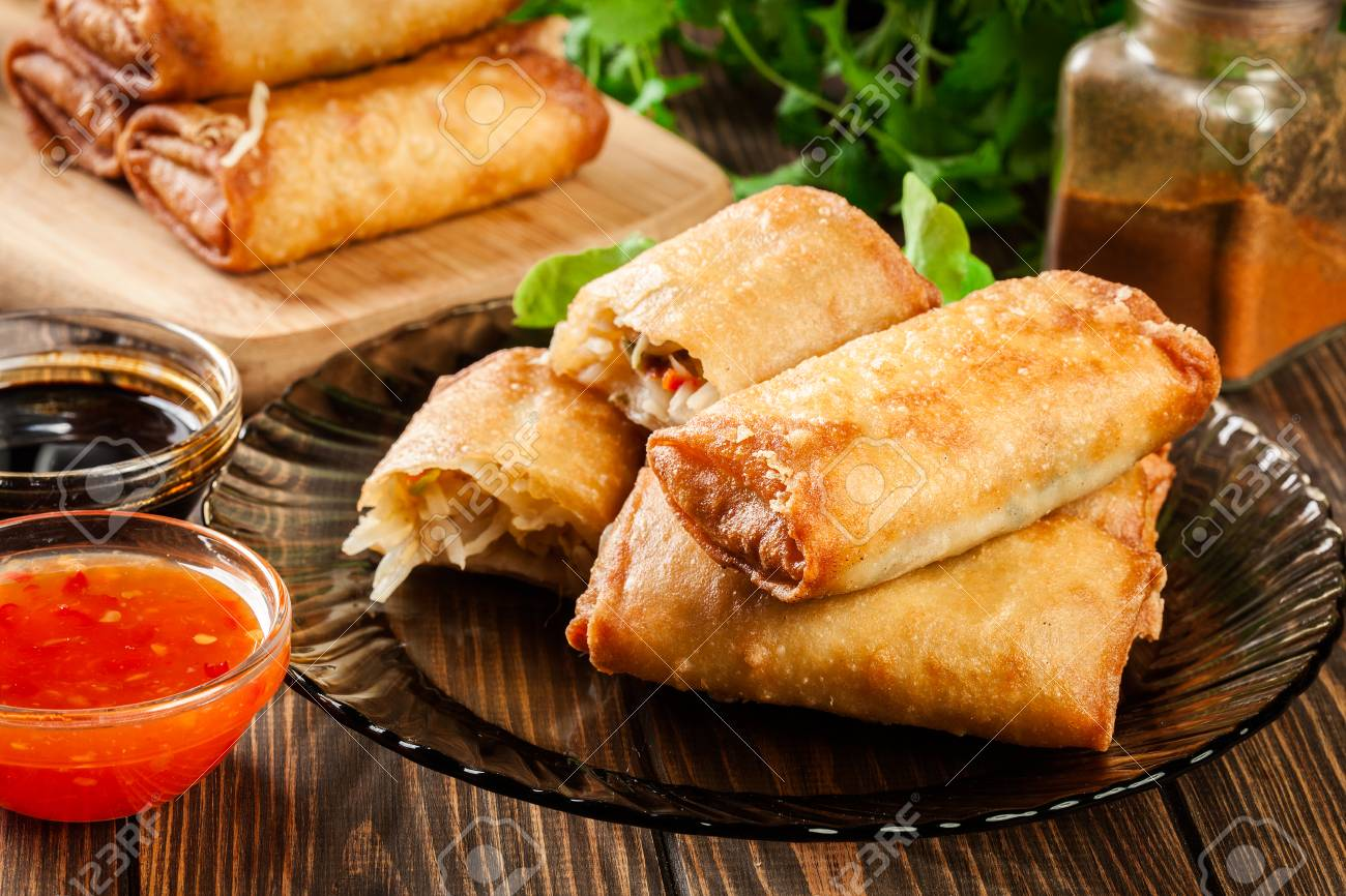 Spring Rolls With Chicken And Vegetables Served With Sweet Chili Stock Photo Picture And Royalty Free Image Image 96264735