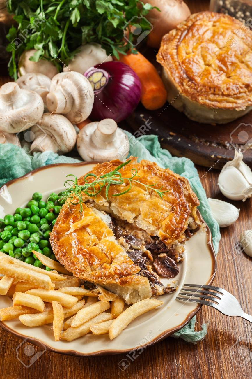 Homemade Beef Stew Pie With French Fries Meat In Puff Pastry Stock Photo Picture And Royalty Free Image Image 101899019