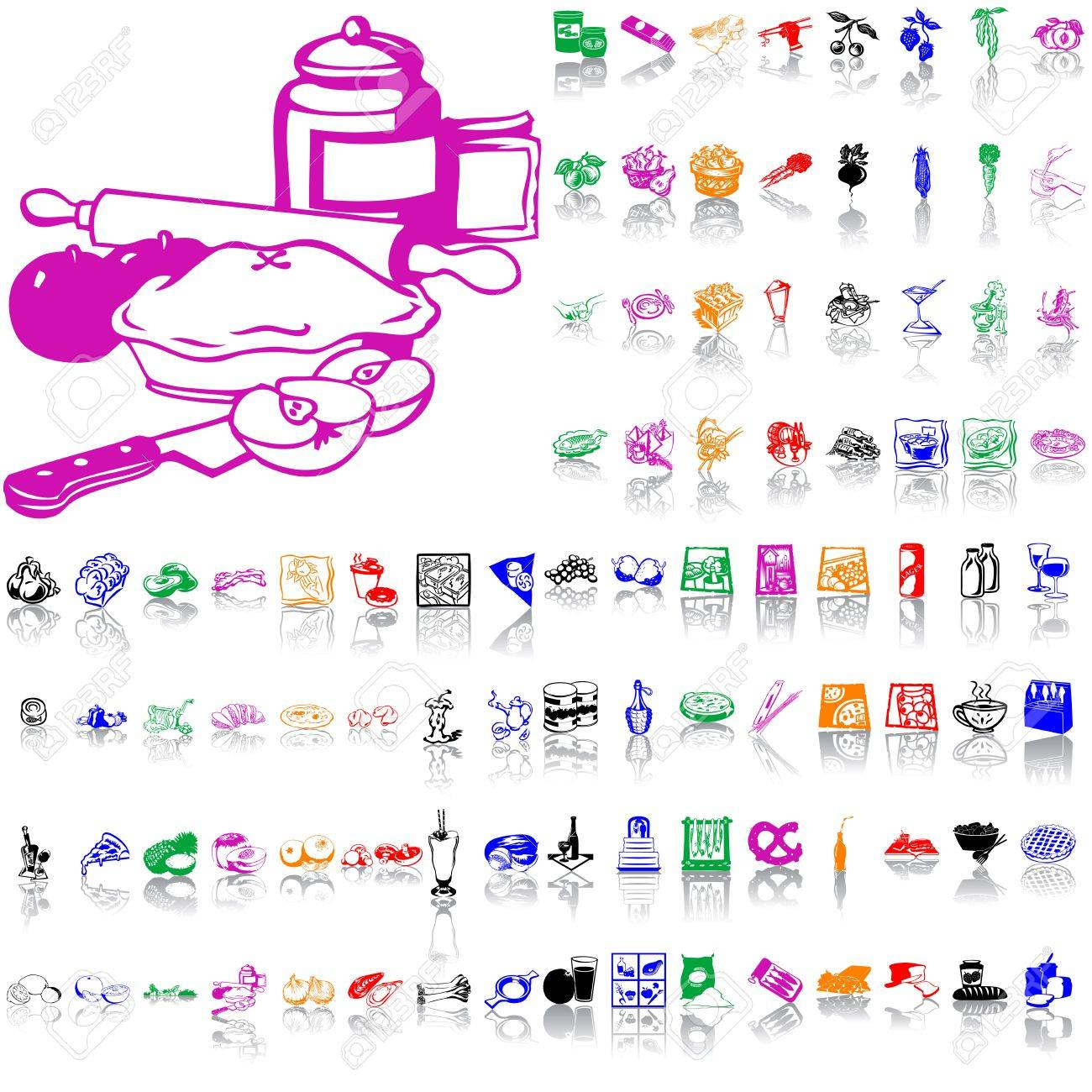 Food clipart. Part 7. Isolated groups and layers. Global colors. Stock Vector - 5090151