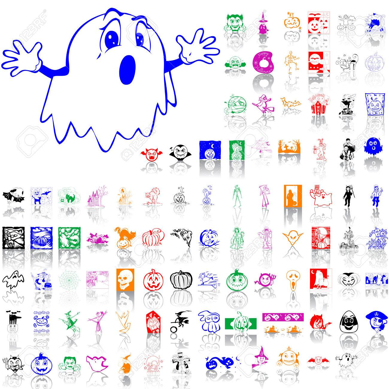 Set of Halloween sketches. Part 6. Isolated groups and layers. Global colors. Stock Vector - 5162093