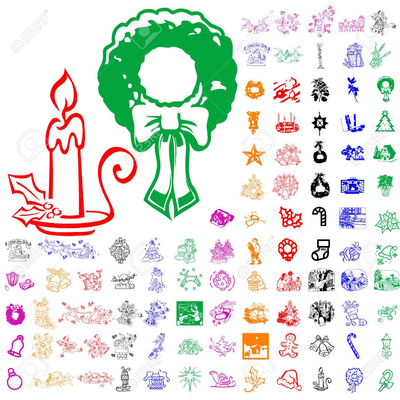 Set of Christmas sketches. Part 5. Isolated groups and layers. Global colors. Stock Vector - 5184455