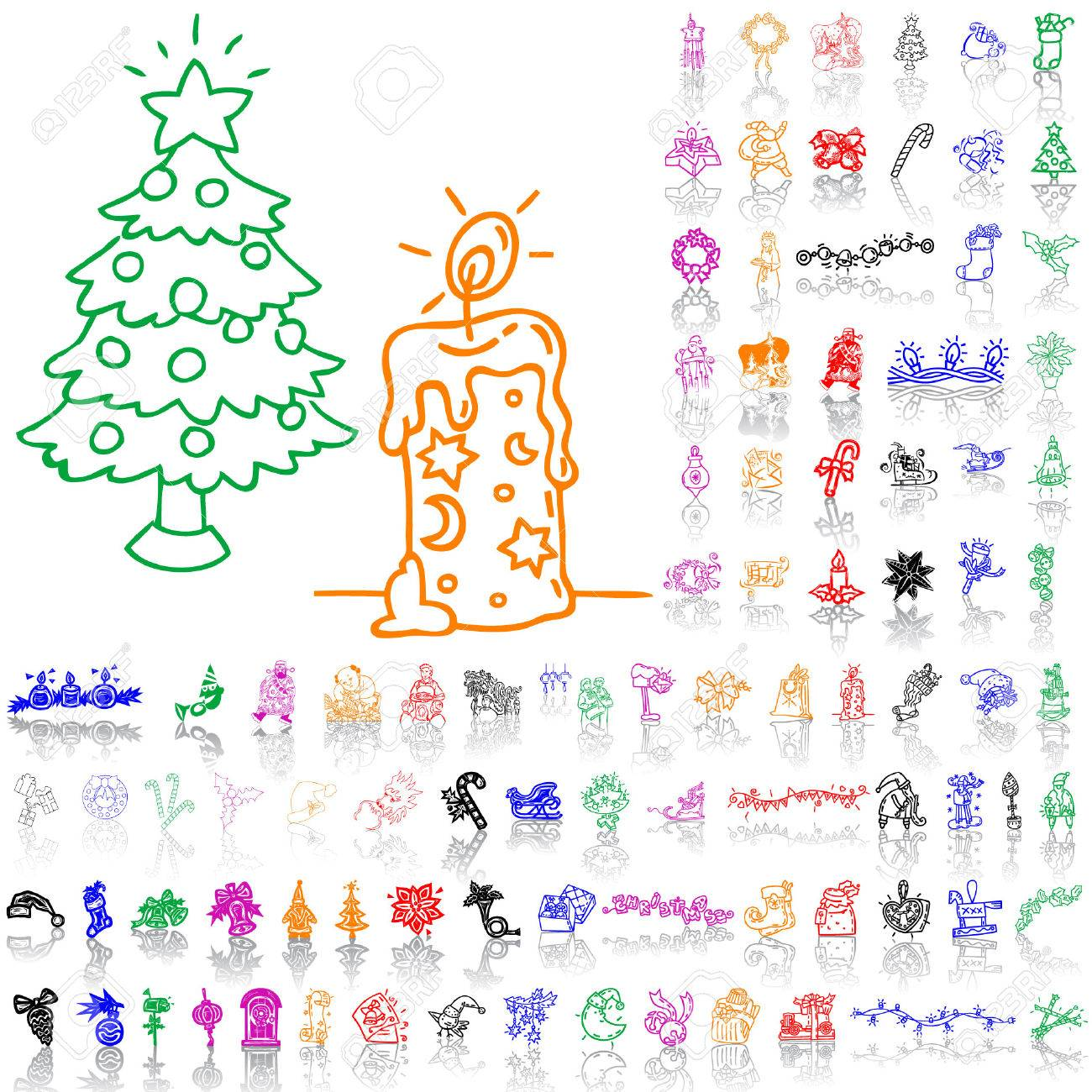 Set of Christmas sketches. Part 7. Isolated groups and layers. Global colors. Stock Vector - 5184465