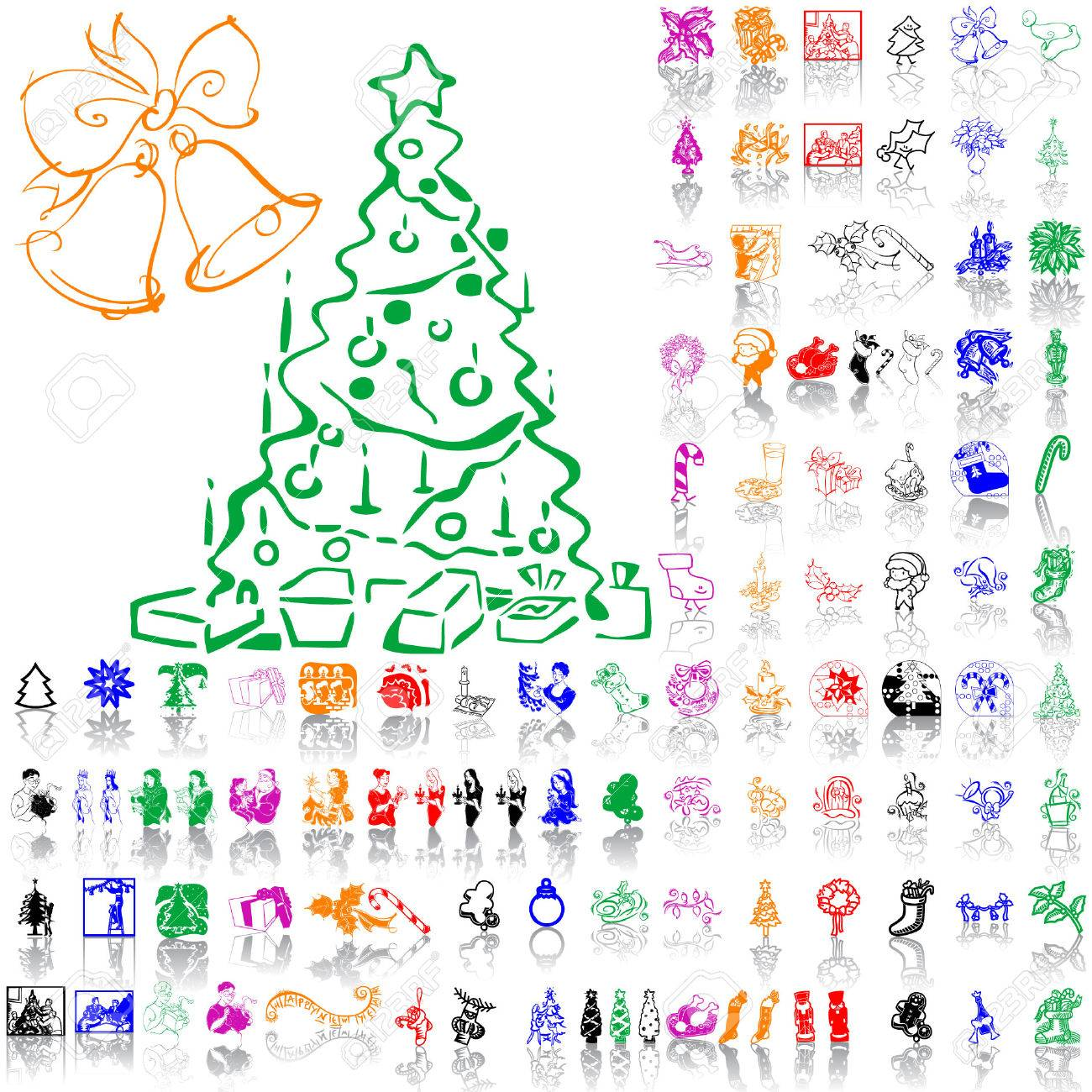 Christmas Sketches.Set Of Christmas Sketches Part 8 Isolated Groups And Layers