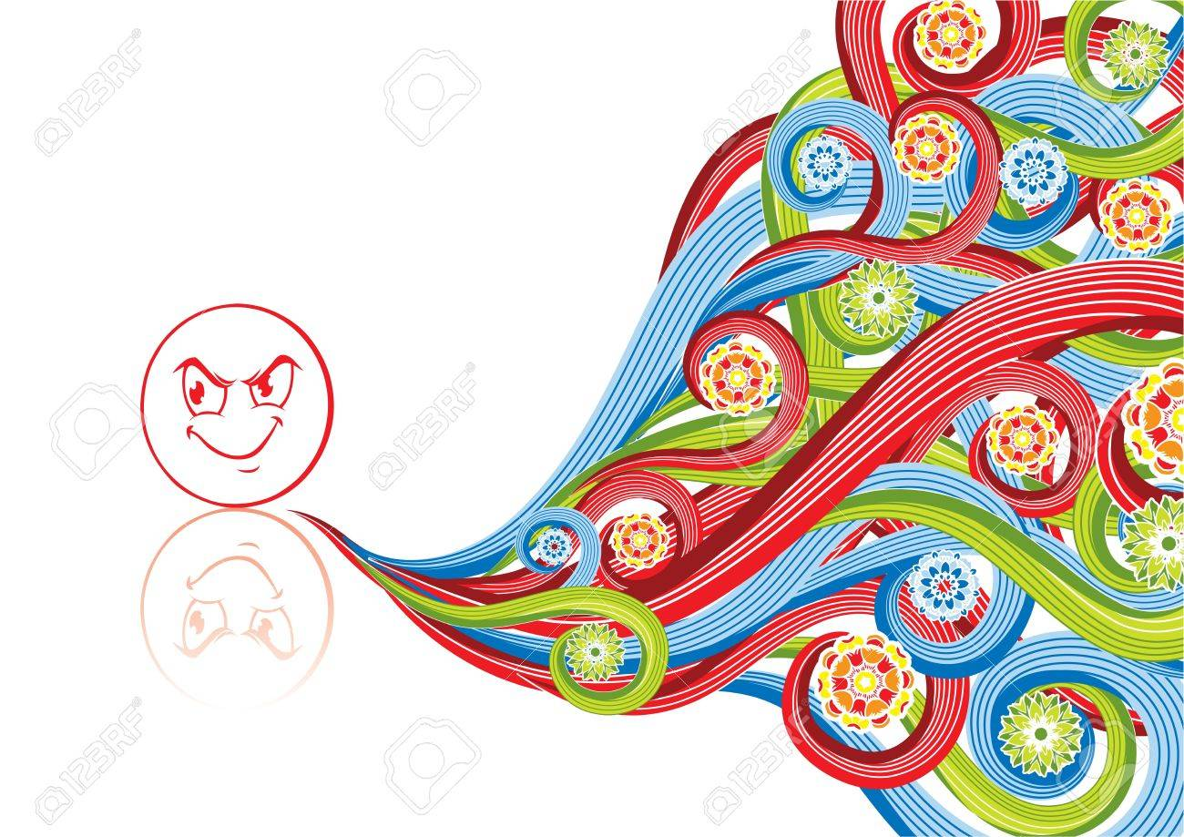 Smiley angry in abstract collage. Format A4. See this illustration in in my portfolio. Stock Illustration - 5222642