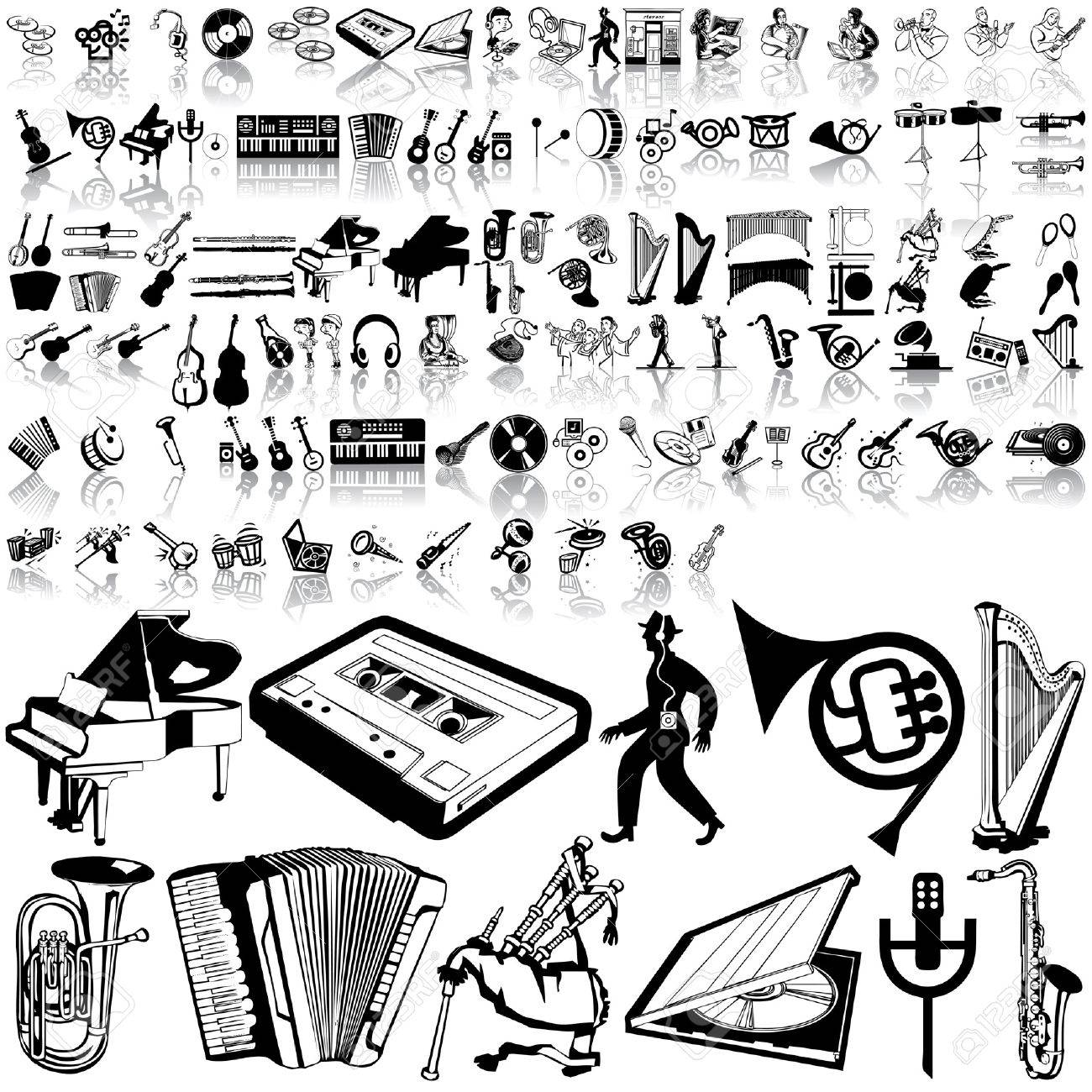 Music set of black sketch. Part 7. Isolated groups and layers. Stock Vector - 5428581