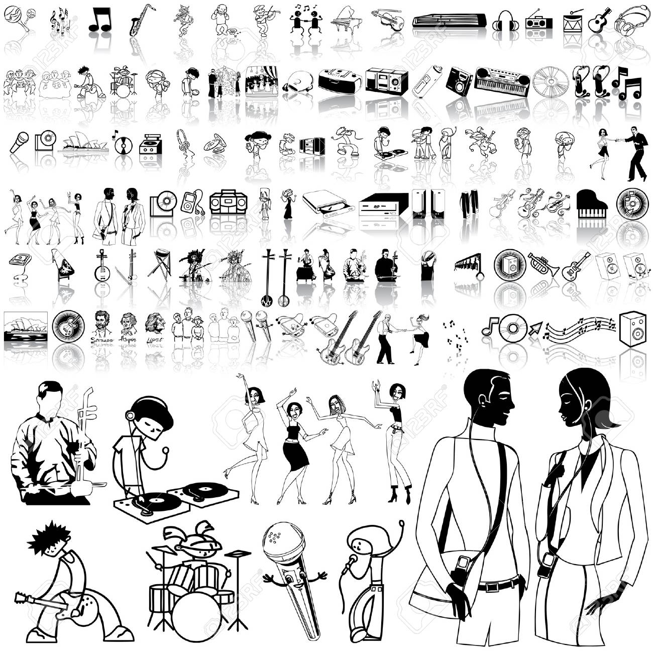Music set of black sketch. Part 12. Isolated groups and layers. Stock Vector - 5428586