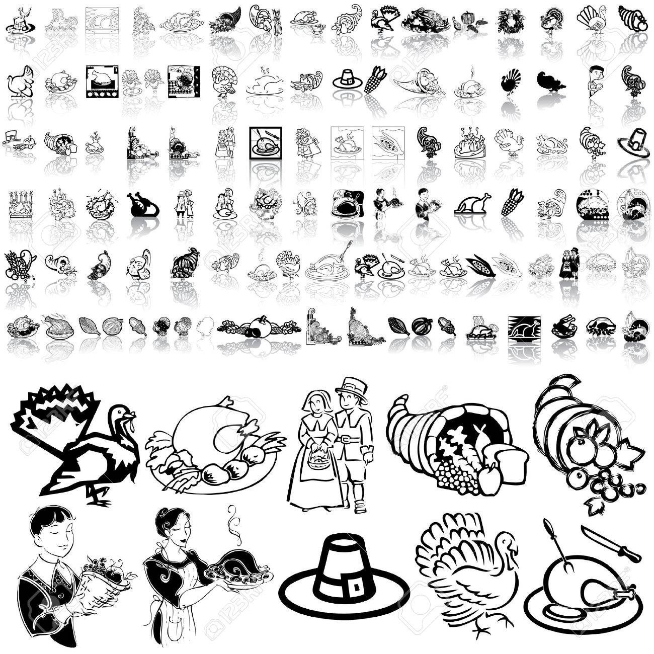 Thanksgiving set of black sketch. Part 2. Isolated groups and layers. Stock Vector - 5466437
