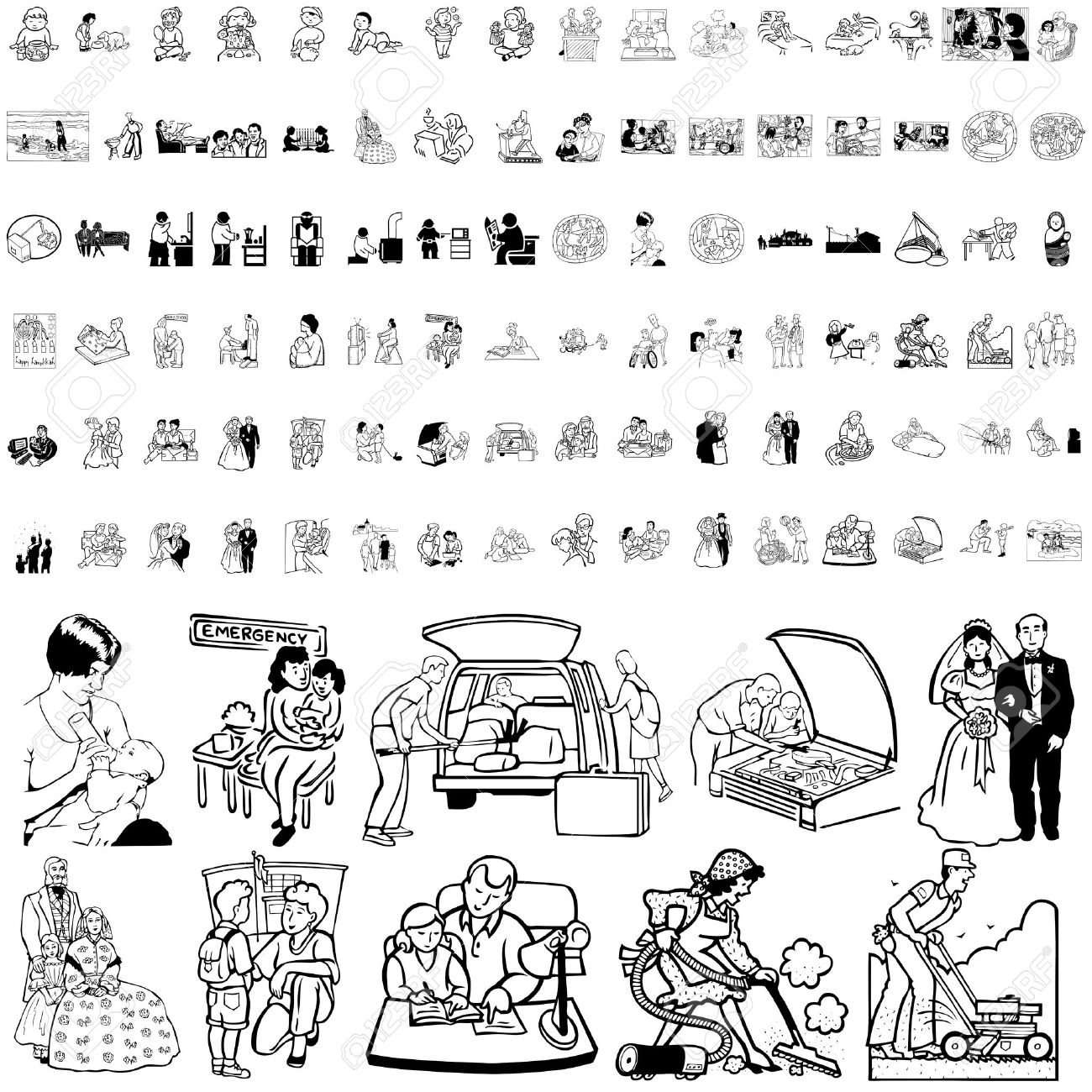 Family set of black sketch. Part 2. Isolated groups and layers. Stock Vector - 5837003