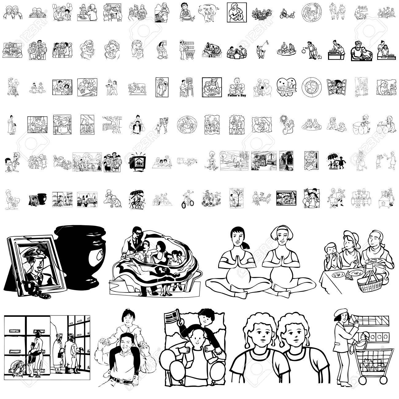 Family set of black sketch. Part 3. Isolated groups and layers. Stock Vector - 5837002