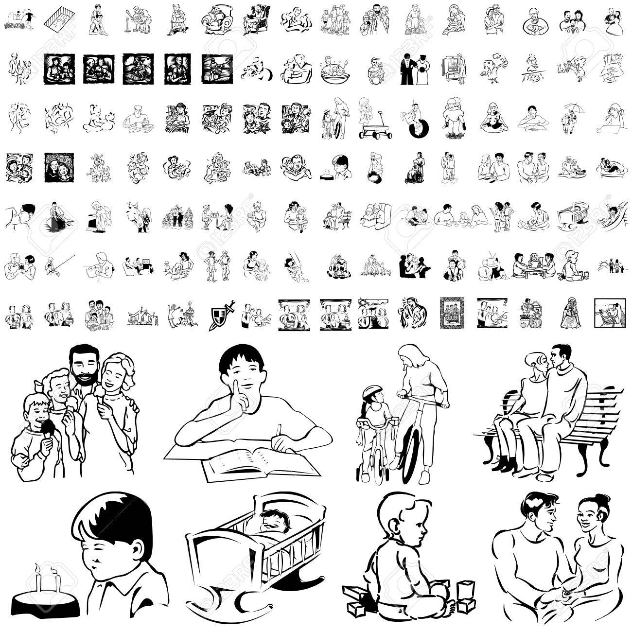 Family set of black sketch. Part 7. Isolated groups and layers. Stock Vector - 5837005
