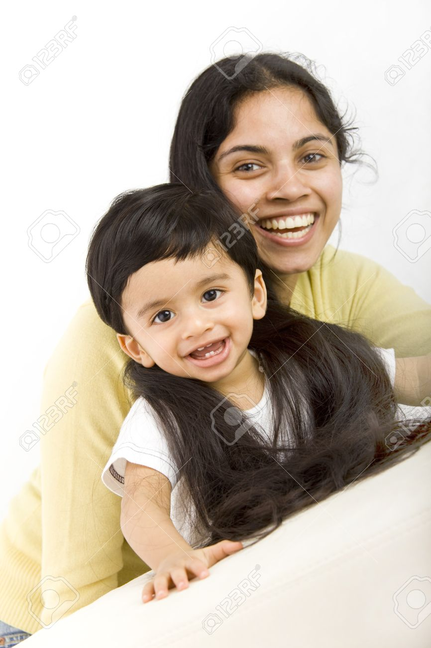 Indian Mom With Very Long Hair And Toddler Stock Photo 9426905