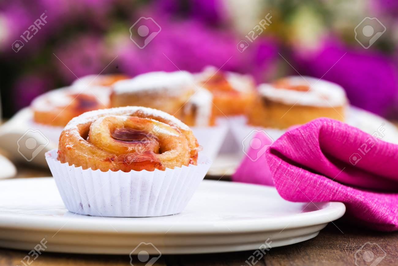 small cake with strawberry jam on white plate Stock Photo - 24512662