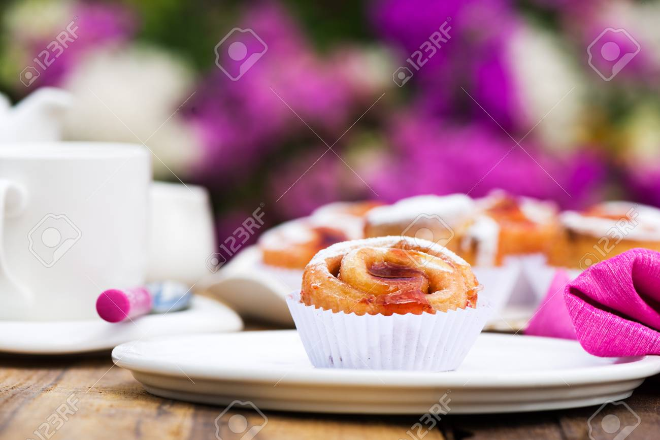 small cake with strawberry jam on white plate Stock Photo - 24512663