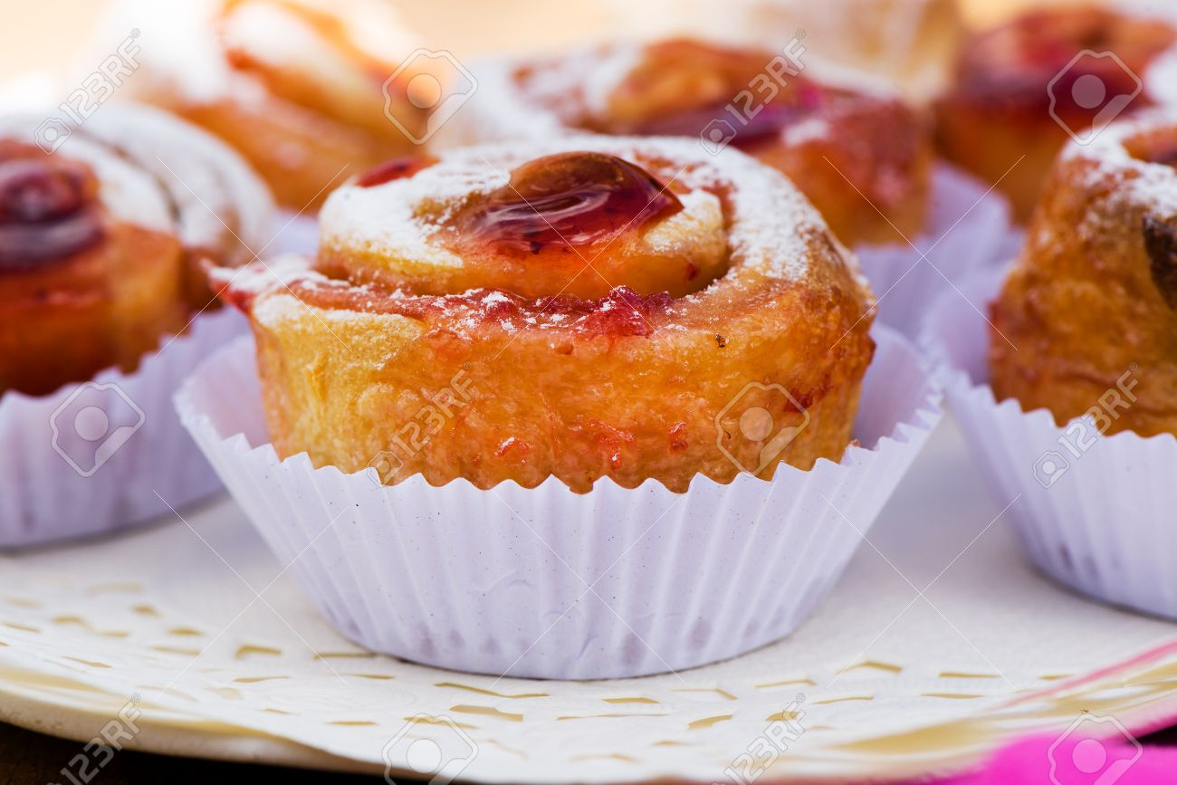 small cake with strawberry jam on white plate Stock Photo - 24512669