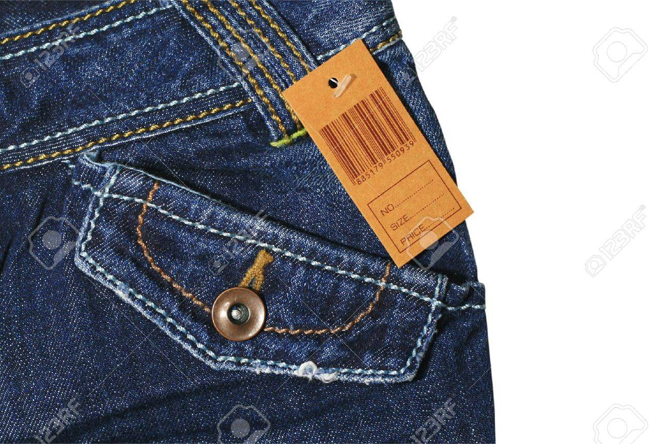 Blue jeans with brown label Stock Photo - 10223092