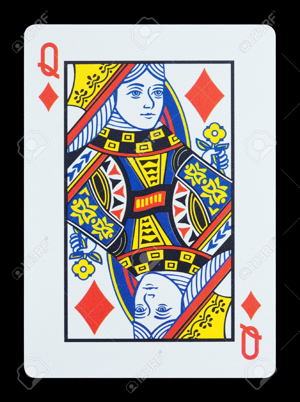 Playing cards - Queen of diamonds Stock Photo - 17036763