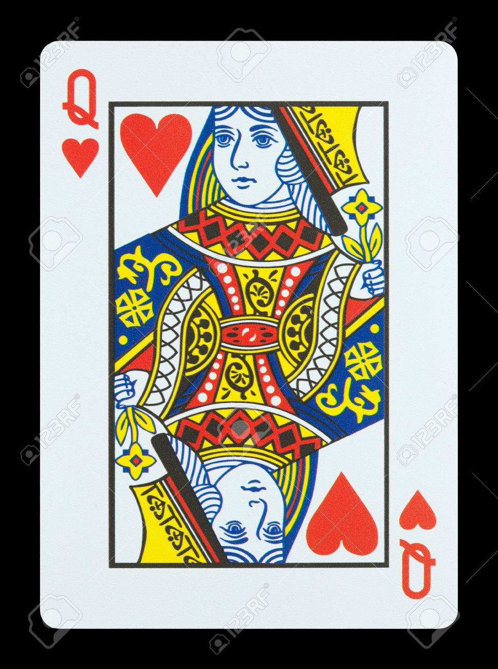 Playing cards - Queen of hearts Stock Photo - 17036765