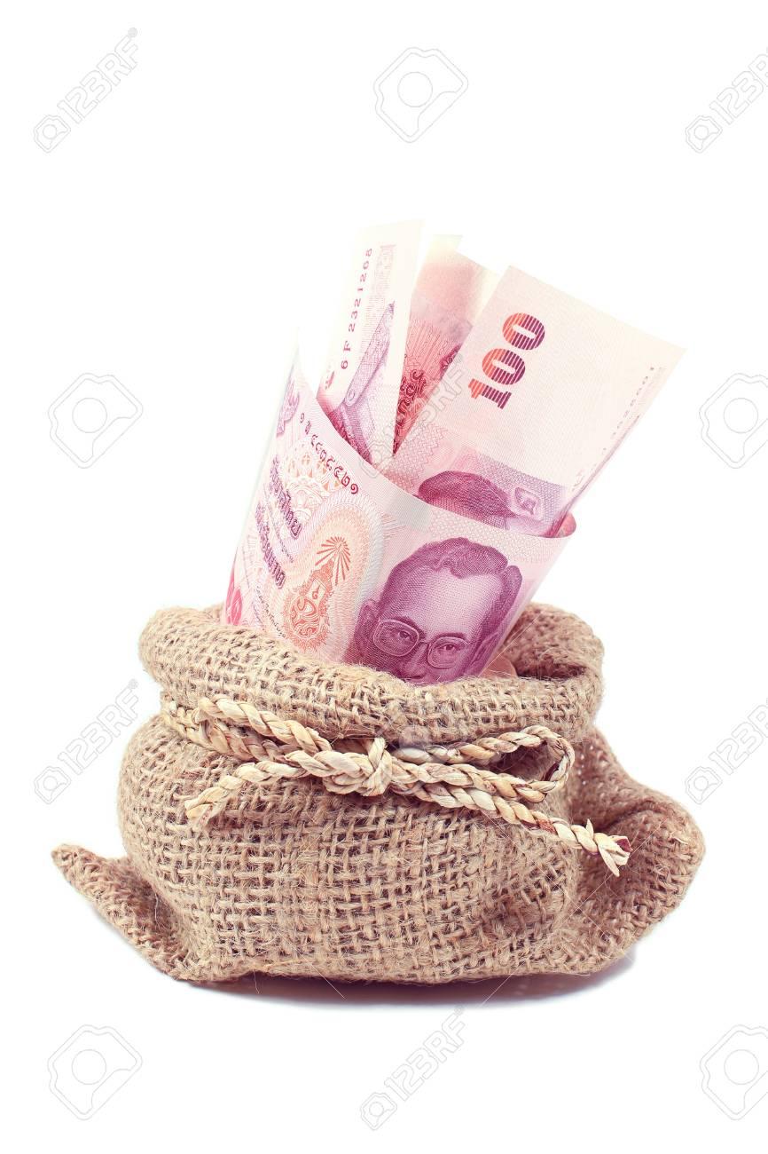 Thai money in the bag on white Stock Photo - 21429556