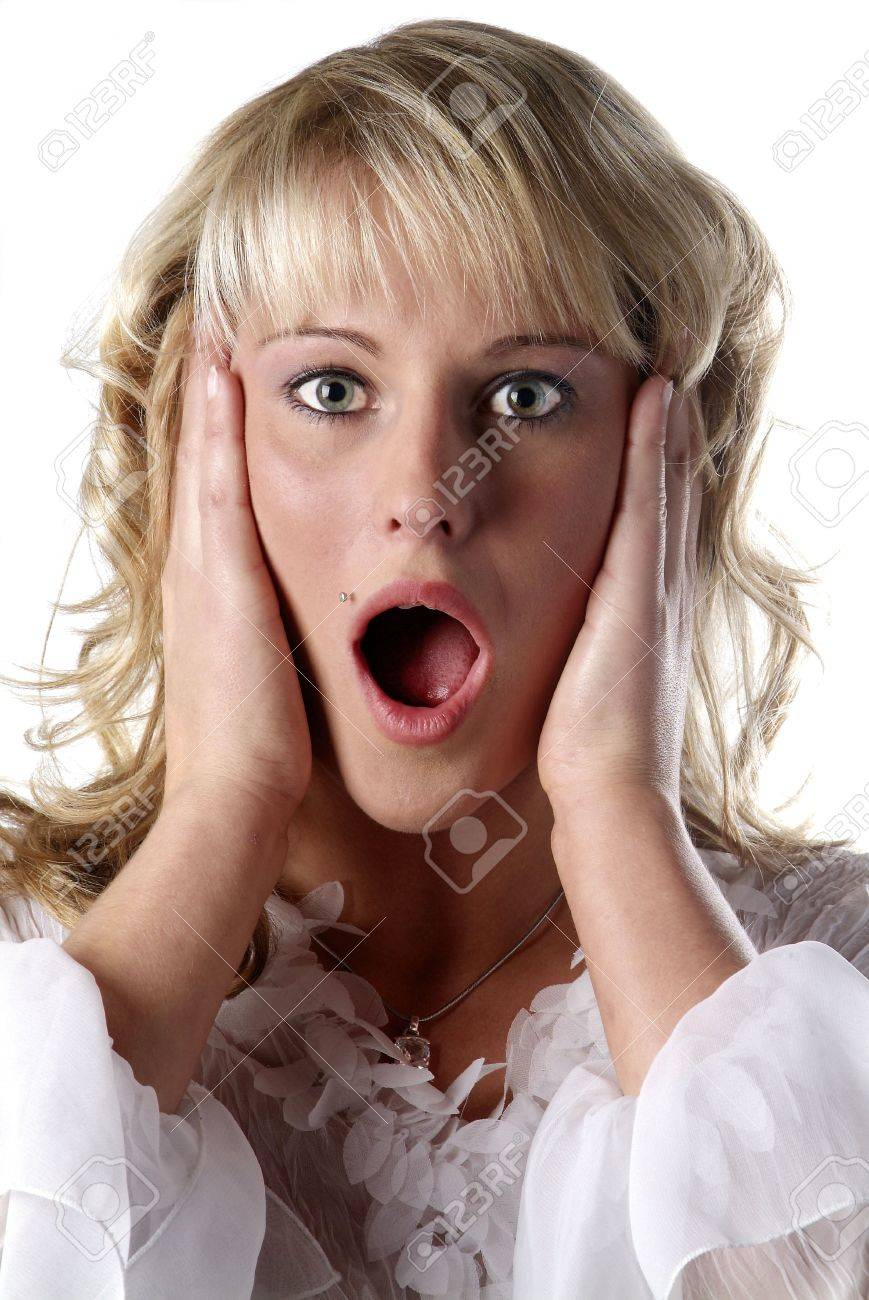 young woman with open mouth and appalled look Stock Photo - 719523