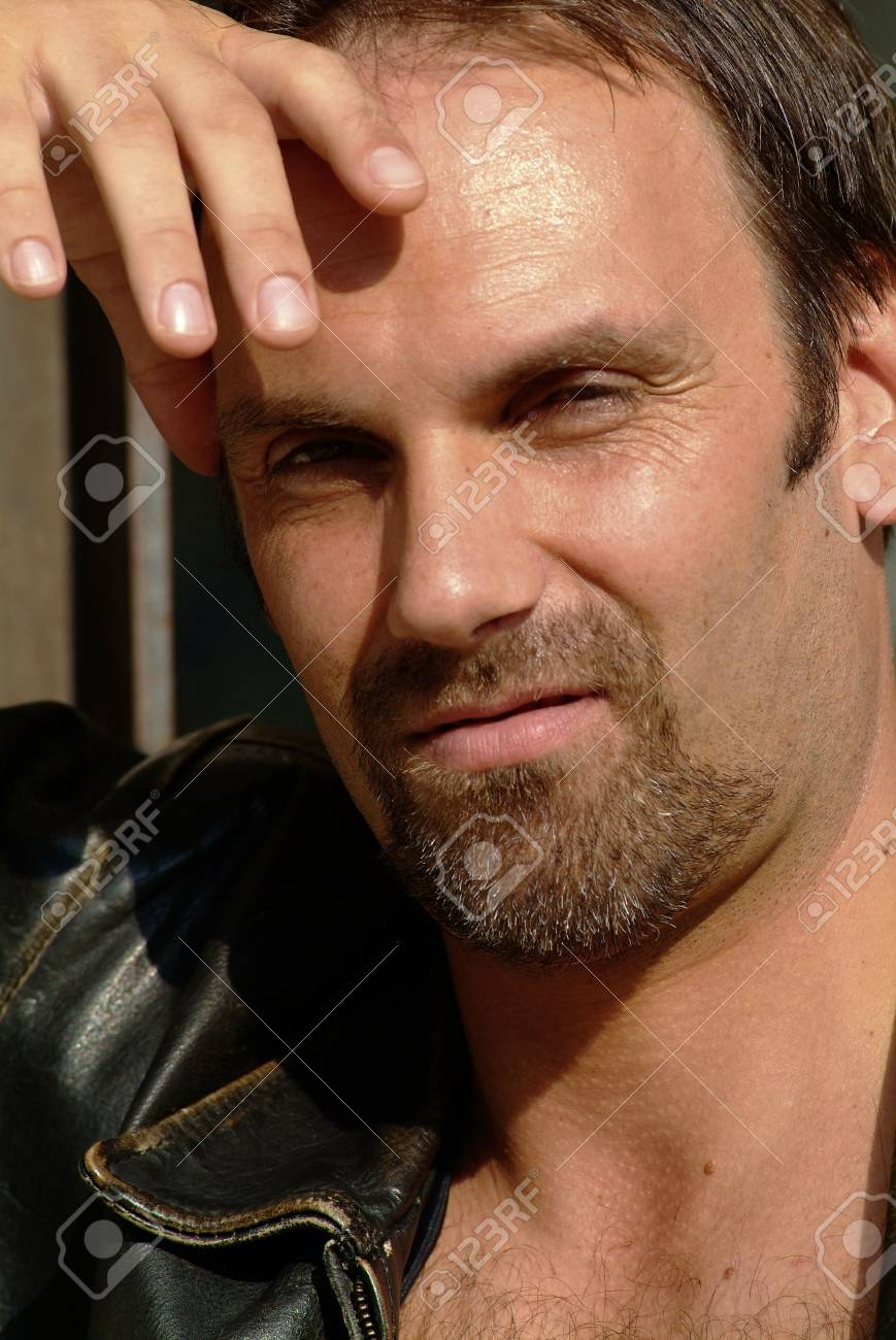 male model with leather jacket and beard Stock Photo - 735668