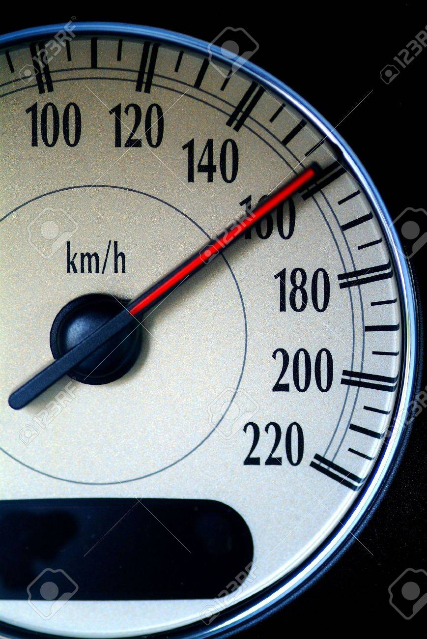 a speed indicator to calculate speed of an car shows high speed Stock Photo - 740754