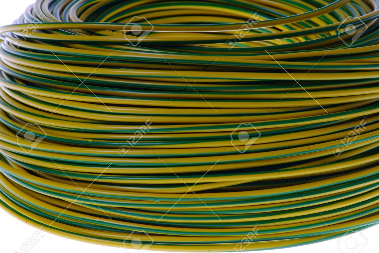 yellow-green electric cabel on white background Stock Photo - 758047