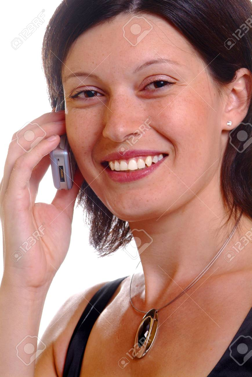 a friendly woman calls with a mobile phone Stock Photo - 779552