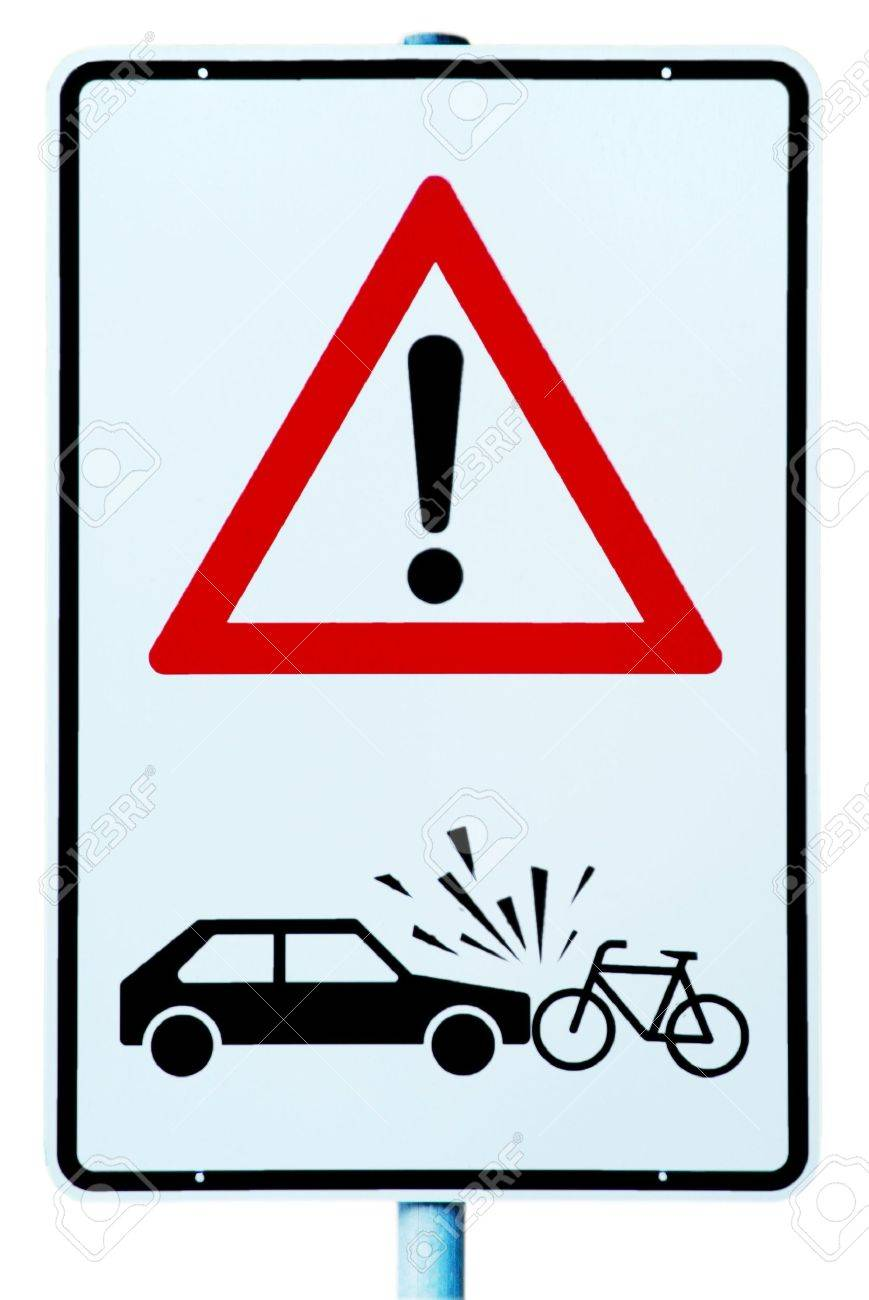 traffic sign with attention danger of accident car and cyclist Stock Photo - 2171799