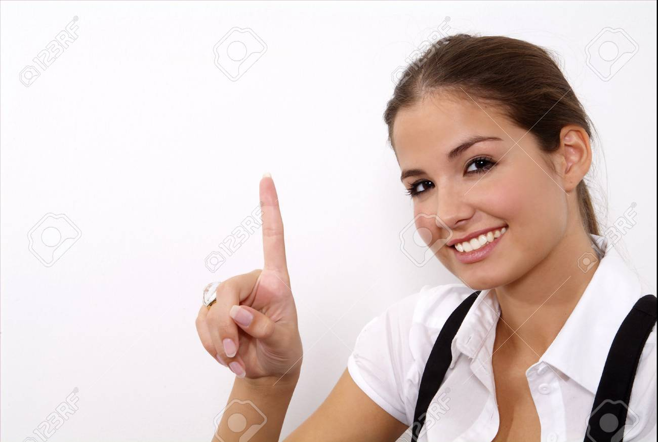a standing woman shows with her fingers Stock Photo - 2171797